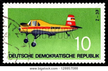 STAVROPOL RUSSIA - APRIL 05 2016: a stamp printed by GDR shows Plane Plane Z - 37. 1963 Czechoslovakia circa 1972