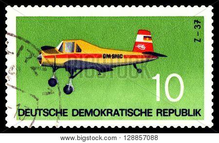 STAVROPOL RUSSIA - APRIL 05 2016: a stamp printed by GDR shows Plane Plane Z - 37. 1963 Czechoslovakia circa 1972