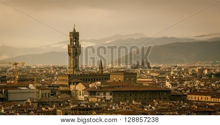 An aerial view of the italian city of  florence