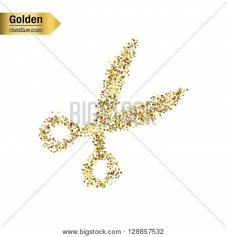 Gold glitter vector icon of scissor isolated on background. Art creative concept illustration for web, glow light confetti, bright sequins, sparkle tinsel, abstract bling, shimmer dust, foil