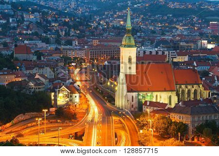 BRATISLAVA, SLOVAKIA - MAY 05, 2016: View of St.Martin's cathedral in the old town of Bratislava on May 05, 2016.