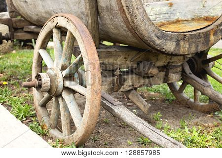 Old horse drawn wooden cart in Tbilisi Georgia