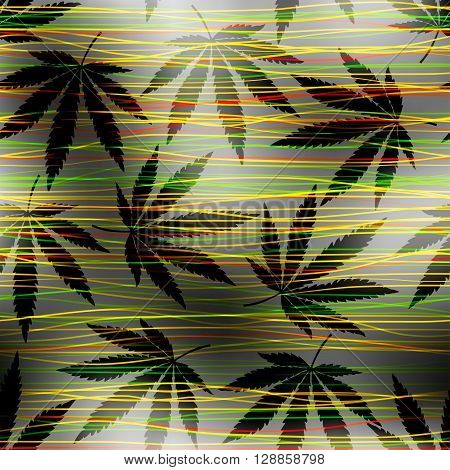 Seamless pattern from hemp leaves on blurred background