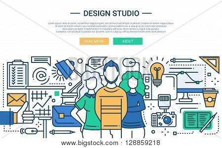 Illustration of vector modern line flat design website banner, header with professional design studio team