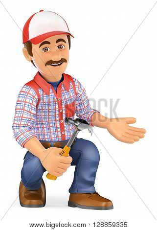 3d working people illustration. Handyman squatting with a hammer pointing to side. Isolated white background.