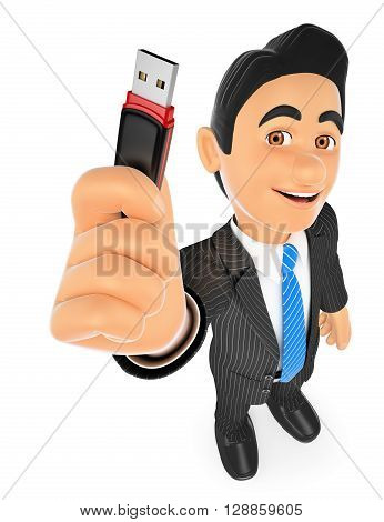 3d business people illustration. Businessman with a pen drive. USB stick. Isolated white background.