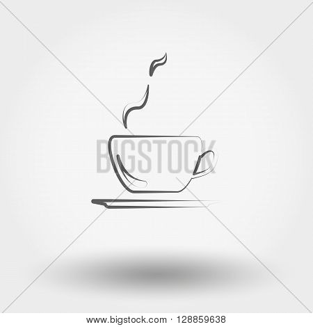 Simple line web icon Cup of hot coffee. Vector illustration on a white background. Doodle, cartoon style.