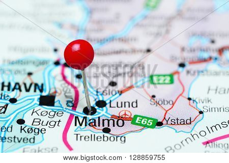 Malmo pinned on a map of Sweden