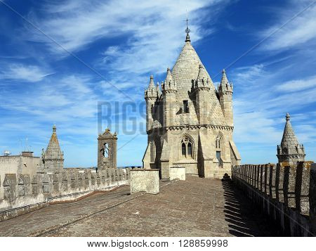 The Gothic tower of Evora's XIII century cathedral. The city of Evora has an extremely rich historical patrimony - a UNESCO world heritage location.