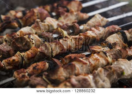 The pork shish kebabs prepared on a brazier for a holiday