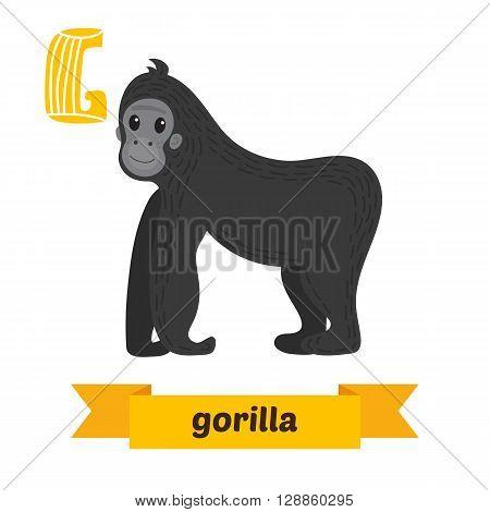 Gorilla. G Letter. Cute Children Animal Alphabet In Vector. Funny Cartoon Animals