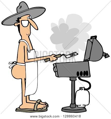 Illustration of a man wearing only an apron cooking on a propane grill.