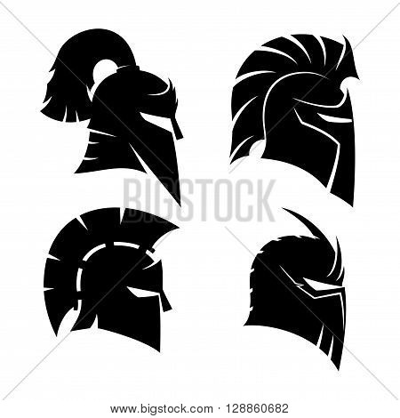Knight's and Spartan helmets signs on a white background.