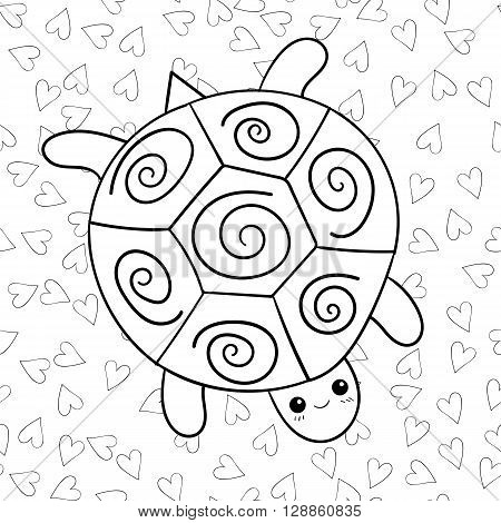 Coloring book cute turtle with heart on background. Black and white outline image of a turtle. Coloring book page.