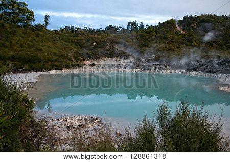 Whakarewarewa Thermal Village Rotorua with geothermal activity