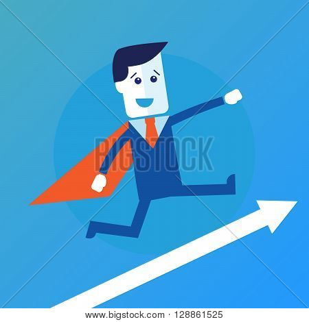 Businessman or manager like a superman. Vector illustration eps 10