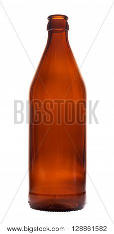 Empty brown beer bottle isolated on white