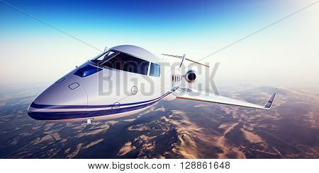 Realistic image of White  generic design private jet flying over the mountains. Empty blue sky and sun at background. Business Travel by modern Luxury aircraft. Horizontal, closeup. 3D rendering
