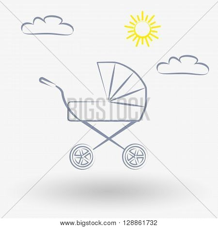 Simple line web icon Baby carriage. Vector illustration on a white background. Doodle, cartoon style.