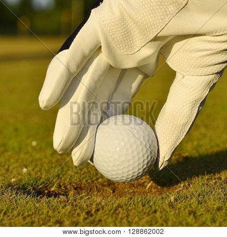 green field and white golf ball sport sanset