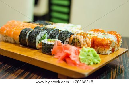 Japanese Cuisine - Sushi Set seafood, raw, calamari