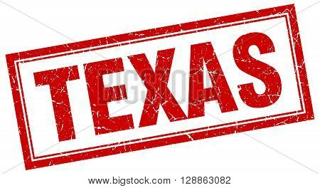Texas red square grunge stamp on white