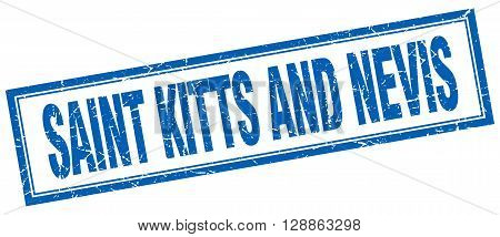 Saint Kitts And Nevis blue square grunge stamp on white