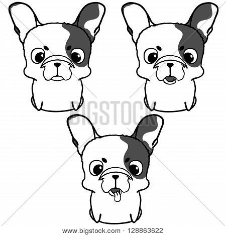 Set of french bulldog puppies. Monochrome vector illustration of cute little dog with funny muzzle. Sitting french bulldog pup with black spots. Isolated on white cartoon pup
