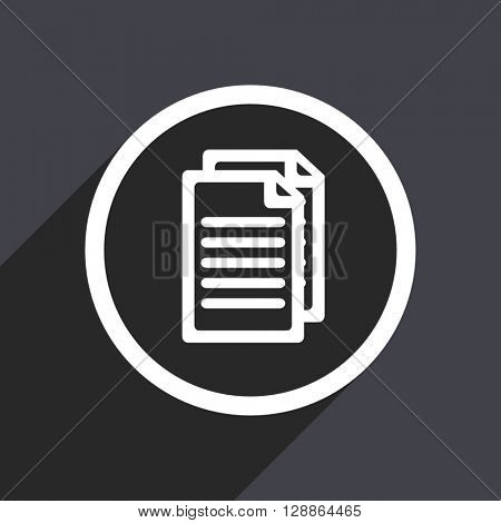 flat design document web white and grey vector icon