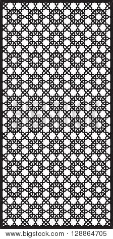 Rectangular lattice pattern background  in arabic style. Arabesque. Good idea for metallic gratings with laser cutting. Vector illustration.