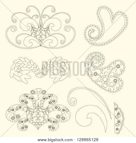 Cute paisley pattern Turkish cucumber for design of fabrics, tableware, wallpaper, isolated, vector