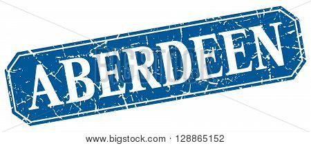 Aberdeen blue square grunge retro style sign