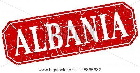 Albania red square grunge retro style sign