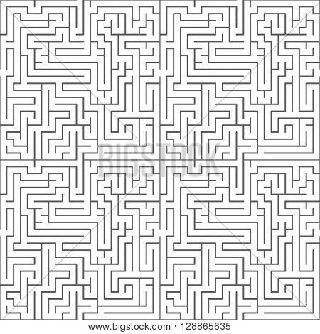 Black complicated maze on white, seamless pattern