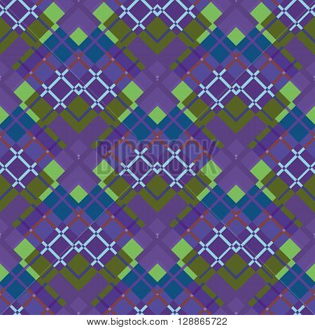 Beautiful purple and green diagonal plaid fabric. Vector illustration.