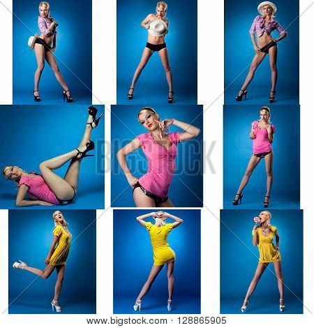 Collage of pretty pin-up girl posing in studio
