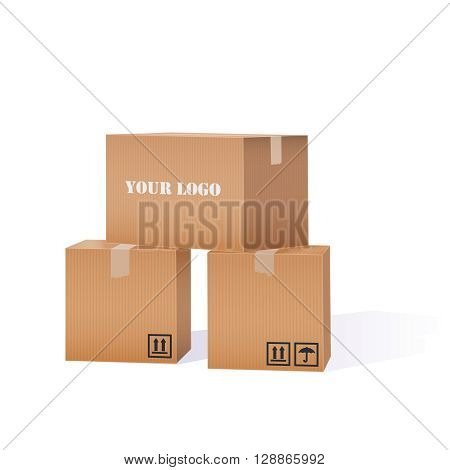 Color Vector Realistic Illustration Of Cardboard Boxes Pile