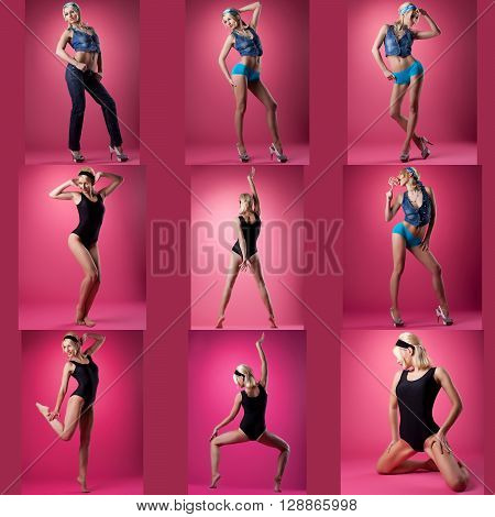 Collection of cute pin-up girl poses, on pink background