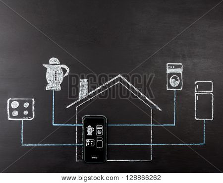 Smart House Concept Hand Drawing.