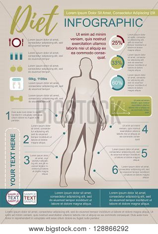 Color Vector Infographic Template About Woman Diet