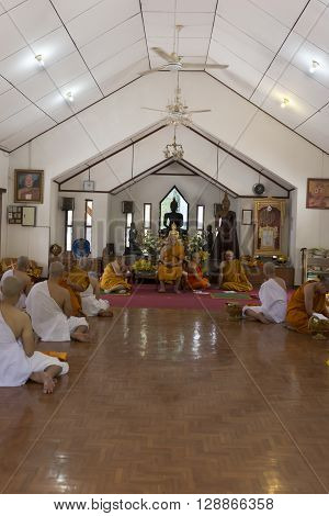 Man In Buddhist Monk Ordination Ceremony