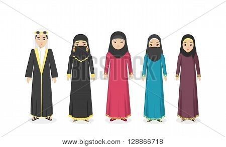 Arabian traditional clothes people. Arab traditional muslim, arabic woman clothing, east arabian dress, ethnicity islamic face, person human woman isolated on white. Vector illustration