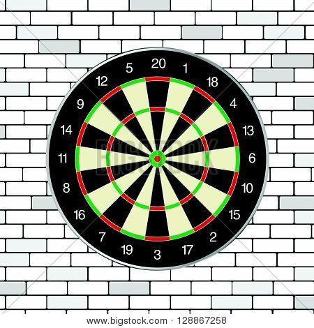 brick walll with dartboard on it illustration in colorful