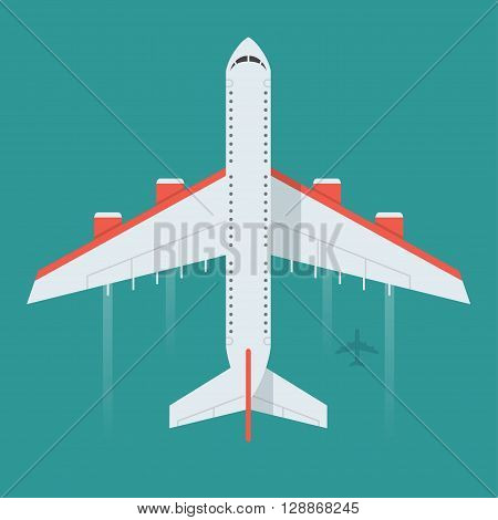 Airplane vector illustration. Flying an airplane with a shadow underneath. Airplane view from above isolated from the background. Airplane icon in a flat style. An airplane in the air concept.