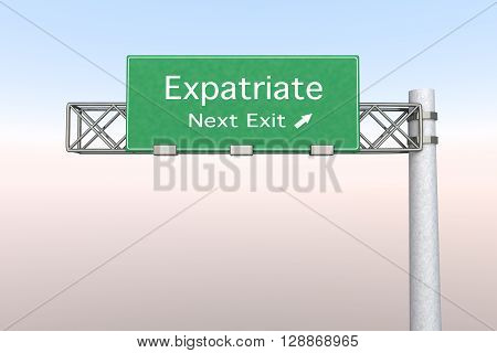 3D rendered Illustration. Highway Sign next exit to expatriation.