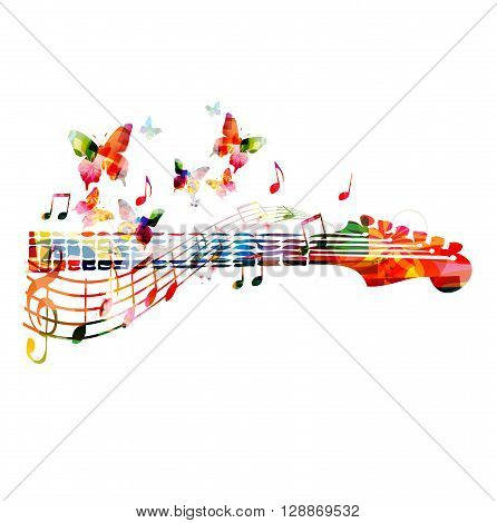 Colorful guitar fingerboard with butterfly. Vector illustration