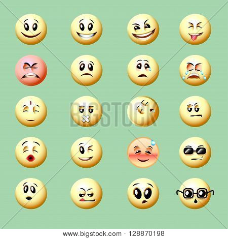 vector illustration set of bright colored smilies