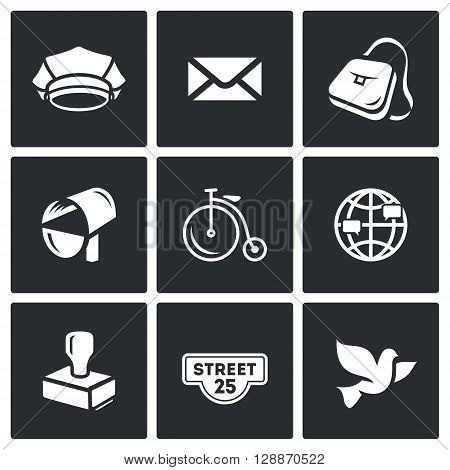 Cap, Envelope, Bag, Mailbox, Bicycle, Globe, Stamp, Address label, Bird
