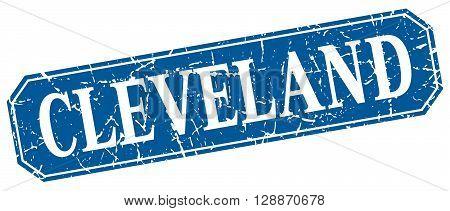 Cleveland blue square grunge retro style sign