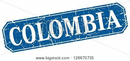 Colombia blue square grunge retro style sign